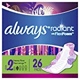 Always Radiant Feminine Pads for Women, Size 2, 78 Count, Heavy Flow Absorbency, with Flexfoam Wings, Light Clean Scent, 26 Count, Pack of 3 - 78 Count Total)