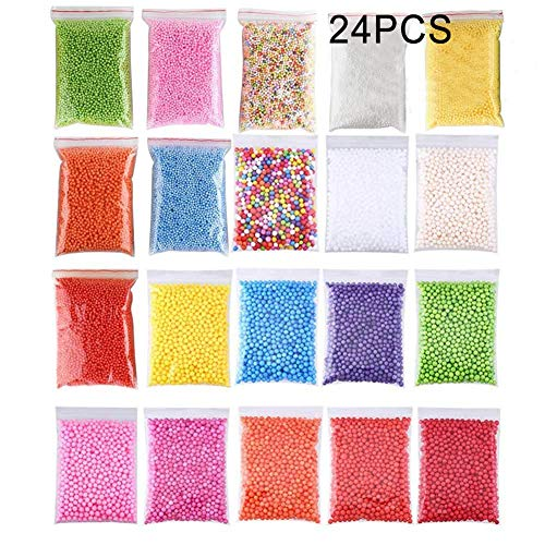24 Packs Slime Foam Beads,Slime Foam Beads Micro Polystyrene Styrofoam Balls for Slime Making Art DIY Craft