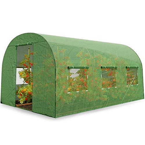 Plonos Foliengewächshaus Gartentunnel Folientunnel Treibhaus Garten 200 x 350 x 200 cm 7m2