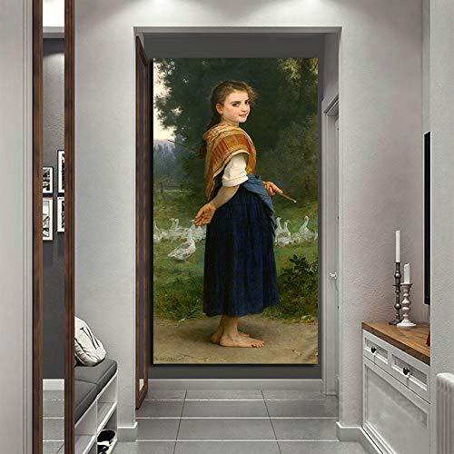 N / A Rahmenlose Malerei Gans Mädchen nach Hause Vintage Leinwand Wandkunst Bild Dekoration WohnzimmerZGQ9068 30x60cm