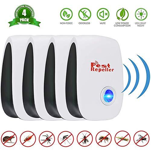 Repelente Ultrasonico de Plagas, BESTZY Electrónico Repelente Mosquitos Insectos para Interiores Anti Cucarachas, Moscas, Mosquitos, Ratones, Arañas 2020(4 Packs)