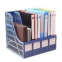 KXF ファイルボックス 4仕切り ファイルスタンド ドキュメントケース 新聞 雑誌 文書 書類入れ 大容量 卓上収納 マガジンラック 軽量 丈夫 学校 オフィス 事務用品
