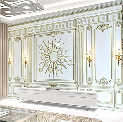 Europees klassiek driedimensionaal goud 3D-reliëf kast-op maat gemaakte wandbehang woonkamerbank - niet geweven televisieachtergrond-Fresko 350 × 245 cm.