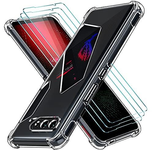 ivoler Funda para ASUS ROG Phone 5/5 Pro/ROG Phone 5 + 3 Unidades Cristal Vidrio Templado Protector de Pantalla, Ultra Fina Silicona Transparente TPU Carcasa Airbag Anti-Choque Anti-arañazos Caso