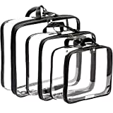 Clear Compression Packing Cubes 3 Set - Bags for Travel - Luggage Cube Organizer