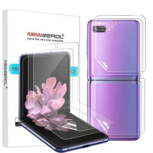 NEWZEROL 6 Stück Folie Kompatibel für Samsung Galaxy Flip Z 5G Schutzfolie [Vorder & Rückseite] Fingerabdruckerkennung Bildschirmschutzfolie TPU 3D Edge to Edge Mit Voller Abdeckung