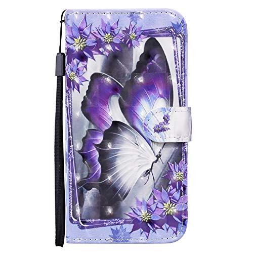 Unichthy Schutzhülle für Samsung Galaxy A42 5G, 3D, stoßfest, Klappetui, weiches Silikon, mit Standfunktion, Kartenfächern, Notebook-Schutzhülle für Samsung Galaxy A42 5G, blauer Schmetterling