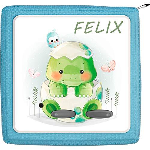 Coverlounge Schutzfolie passend für die Toniebox | Folie Sticker | Baby Schildkröte und Schmetterlinge mit Name personalisiert