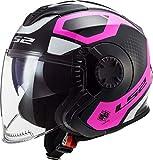 LS2 Casco de moto OF570 VERSO MARKER MATT BLACK VIOLET, negro/rosa/blanco, S