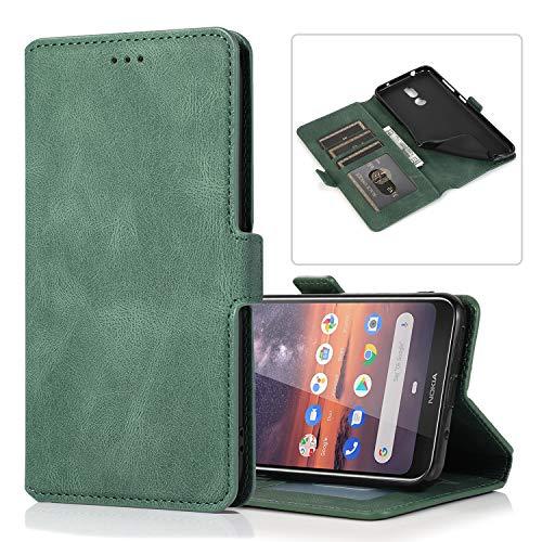 Snow Color Nokia 3.2 Hülle, Premium Leder Tasche Flip Wallet Case [Standfunktion] [Kartenfächern] PU-Leder Schutzhülle Brieftasche Handyhülle für Nokia3.2 - COKLT010405 Grün