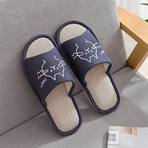 ZZNVS Mujer Moda casa Zapatos Piso Confort Hembra Pareja Estilo Interior Mujeres Suave casa Plana Gato Zapatillas algodón Invierno Caliente (Color : Navy Blue Man, Shoe Size : 11.5)