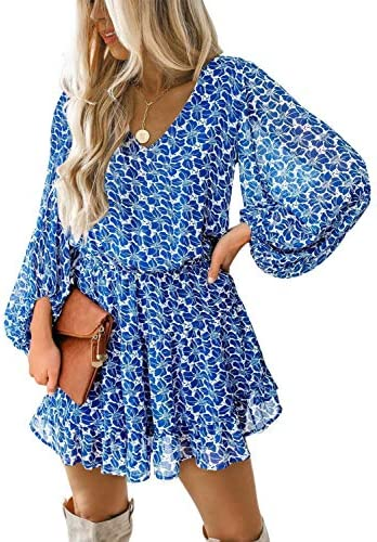 Dokotoo Womens Cute Spring V Neck Chiffon Lantern Long Sleeve Floral Boho Bohemian Hawaiian product image