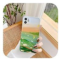 Lysmq マリンナチュラルランドスケープペインティングマットフォンケースforIphone 12 Mini 11 Pro XS Max X XR SE 2020 7 8Plusソフトシリコン保護ケース-Style 6-For iphone 12 Pro