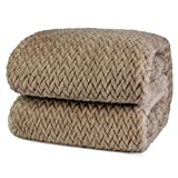 PAVILIA Luxury Flannel Fleece Blanket Throw Twin Tan Taupe Camel Neutral | Soft Decorative Jacquard Weave Microfiber Throw for Sofa Couch | Velvet Textured Leaf Pattern Lightweight Plush Cozy, 60'x80'