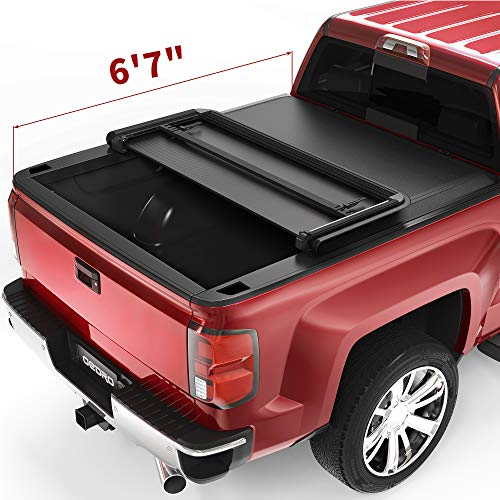 oEdRo Tri-Fold Truck Bed Tonneau Cover Compatible with 2014-2019 Chevy...