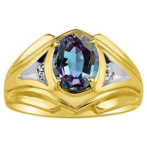 Para hombre imitación de imitación de Alejandrita y diamante anillo 14K oro amarillo banda