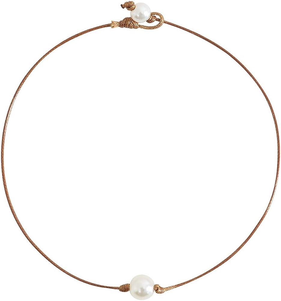 Liumart Single Pearl Choker Necklace on Genuine Leather Cord Handmade Jewelry Gift
