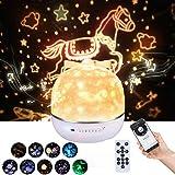 Lightess Lámpara Proyector Estrellas Infantil Música Altavoz Bluetooth 360° Rotación Proyector Estrellas Bebé USB Luz Nocturna Control Remoto por Regalo para Navidad, 9 Patrones de Proyección (Rosa)