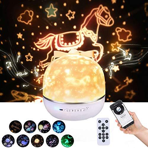 Lightess Sternenhimmel Projektor Lampe Bluetooth Musik LED Nachtlicht Baby Projektionslampe mit 9 Projektionsfilmen 360 ° Drehbar für Geburtstage Halloween Weihnachtsgeschenke Kinderzimmer Dekoration