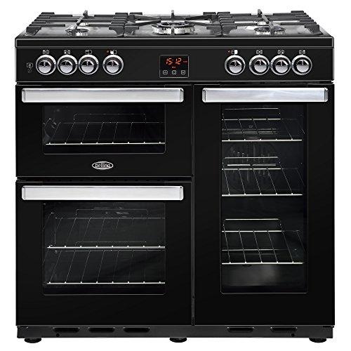 Belling Cookcentre 90DFT Range cooker Cuisinière à gaz Noir - Fours et cuisinières (Cuisinière, Noir, Rotatif, Tactil, Devant, émail, Cuisinière à gaz)
