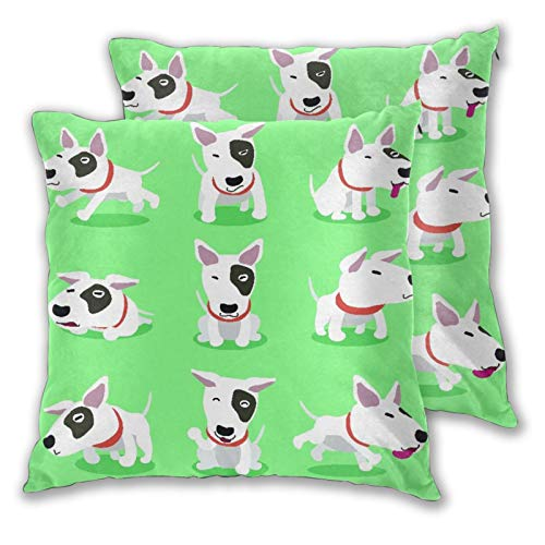 VINISATH Set de 2 Funda de Cojín 50x50cm Personaje de Dibujos Animados Bull Terrier Perro Poses Fundas de Almohada para Cojines Decorativos para Sofá Cama Coche Hogar
