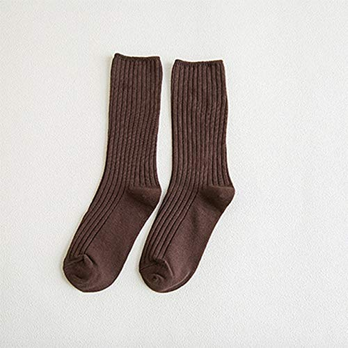 Cotton Women Socks 10 Solid Colors Black Khaki Beige Pink Casual Harajuku Female Crew Sock Spring Summer Autumn  Style - Brown 1 Pack,EU 36-40