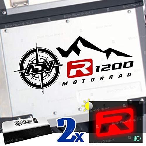 2 adhesivos R1200 bicolores para maletas laterales compatibles con R 1200 GS y Adventure Touratech Givi R1200GS (negro-rojo)