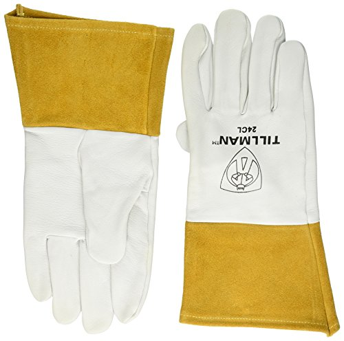 """John Tillman and Co 24CL Premium Top Grain Pearl Kidskin MIG/TIG Welder's Glove with 4"""" Cuff, Straight Thumb and Kevlar Thread, Large"""
