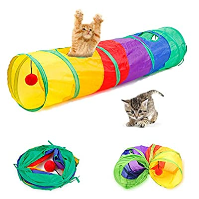 Collapsible Rainbow Cat Tunnel with Play Ball for Indoor Cats, Interactive Cat Tube Toy Foldable Pop-up Pet Tube with 2 Holes and Play Ball, Tunnel for Kitten, Puppy, Rabbit and Small Animal (2-Way) from ISMARTEN