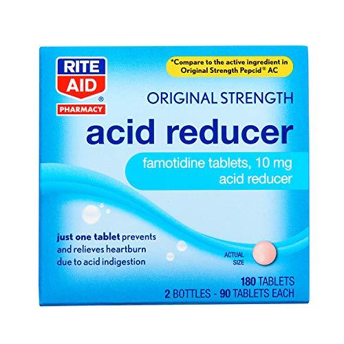 Rite Aid Acid Reducer, Original Strength Famotidine Tablets, 10 mg - 2 Bottles, 90 Count Each (180 Count Total) | Heartburn Relief | Acid Reflux | Antacid Chews & Tablets, Heartburn Chews & Tablets