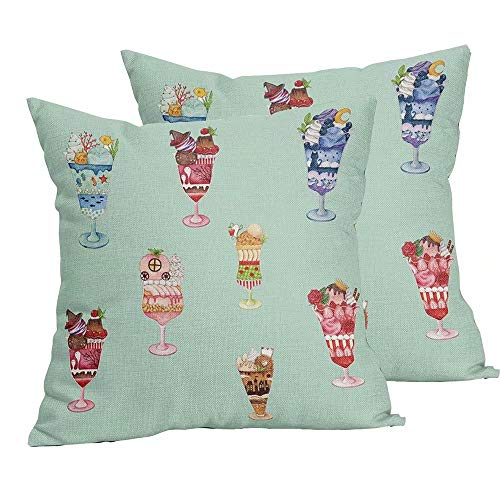 Teal Ice Cream Throw Pillows Covers Washable Machine Colorful Watercolor Unique Modern Mini City Home Decor Square Fashion and Cute Linen Square Double Sided Printing Pillow Cases 18x18 Inch,Set of 2
