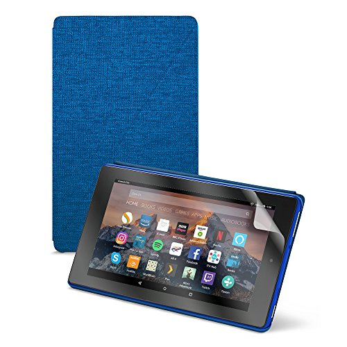 Fire HD 8 Essentials Bundle including Fire HD 8 Tablet with Alexa, 8' Display, 32 GB, Blue - with Special Offers, Blue Amazon Case, and NuPro Screen Protector Kit (2-pack)