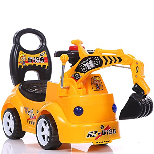 Junqin Construction Excavator Scooter con Caja de Almacenamiento, 2 en 1 EXCAVADOR DE Juguetes DE Montaje, Juguete de camión de Juguete de Montar, Adecuado para niños y niñas de 1 a 3 años-Yellow