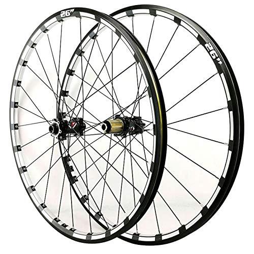 ZNND 26 27.5 Juego Ruedas Bicicleta Eje Pasante Freno Disco Ruedas Frente Posterior Borde Doble Pared 24 Hoyos Cubo para Casete 7 8 9 10 11 12 Velocidades (Color : Black Hub, Size : 26inch)