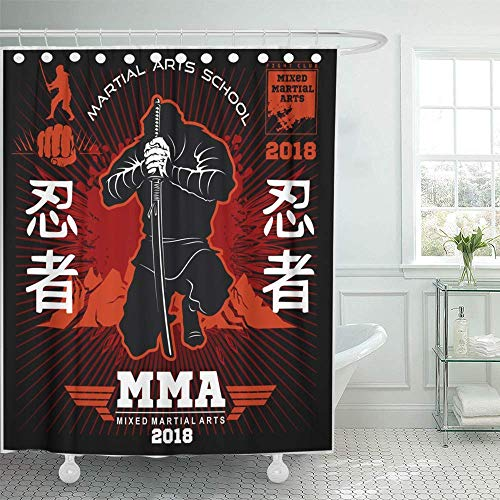 Babydo douchegordijnen Red Samurai Ninja Warrior Fighter Mixed Martial op Black Action Asia Asia Asian Assassin met haak badkamer gordijn set hotels Decoratief thuis 183X183cm waterdicht dus