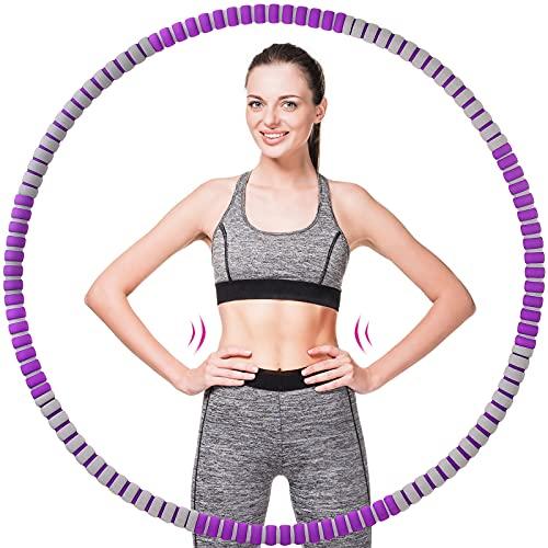 Hula Hoop Reifen, Abnehmbarer Hula Hoop für Erwachsene & Kinder zur Gewichtsabnahme und Massage, 90cm Durchmesser, 1,2 kg, Zerlegbar in 8 Teile. für Fitness/Training/Büro oder Bauchmuskelkonturen