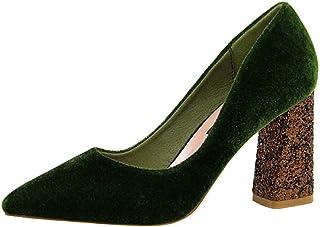 [シュウアン] 8.5cmヒール ポインテッドトゥ ハイヒール チャンキーヒール パンプス 太ヒール 痛くない レディース 美脚 歩きやすい 走れる 結婚式 入学式 キラキラ スエード 大きいサイズ チャンキー フォーマル 靴 25cm 通勤