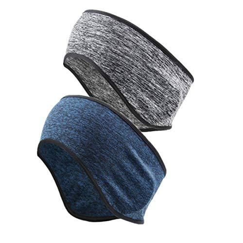 CHARLLEAN 2 Stück Sport Stirnbänder, Sportstirnband zum Laufen atmungsaktiv Funktionsstirnband Winter Ohrenwärmer Dehnbar Stirnband Sport Ohrenschützer Thermal Headband für Damen,Herren