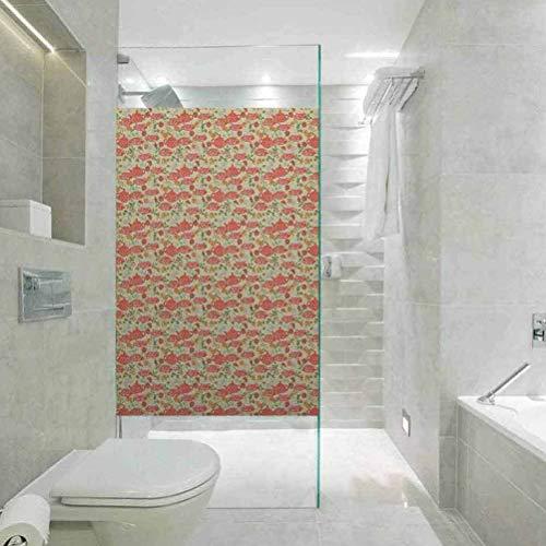 Privacy Home Decor - Lámina decorativa para ventana, diseño de lunares con tetera y tazas, decoración para el hogar, cuarto de baño, 35,4 x 78,7 pulgadas