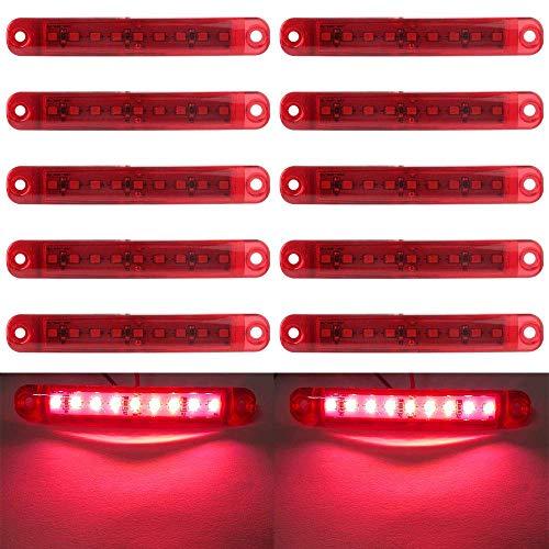 LED Markierungsleuchten, 10pcs LED Truck Side Lights 9 SMD-LED-Seitenmarkierungsanzeige Vorne Hinten Seitenlicht Positionsleuchten 12V für Auto (rot)