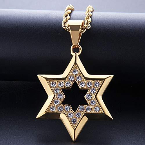 Collar con Colgante De Hexagrama De Estrella De David Judía De Acero Inoxidable Dorado para Hombres Joyería De Rapero