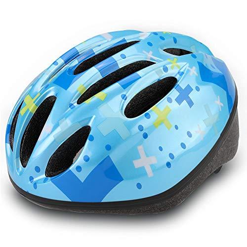 Dostar Kids Bike Helmet, CPSC Certified Lightweight Impact Resistance Adjustable Helmet for Ages 5-14, Multi-Sports Safe Durable Comfortable Bicycle Skateboard Helmets (Crux-blue2)