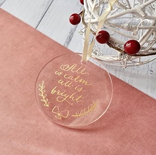 Uniqooo 20 Count Blank Round Clear Acrylic Christmas Ornament Tag Family Name Xmas Tree Hanging Decorations Wedding Table Numbers Place Cards And