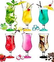 platinux - set di 6 bicchieri da cocktail, da 420ml moderno set da 6 pezzi, colori assortiti colori