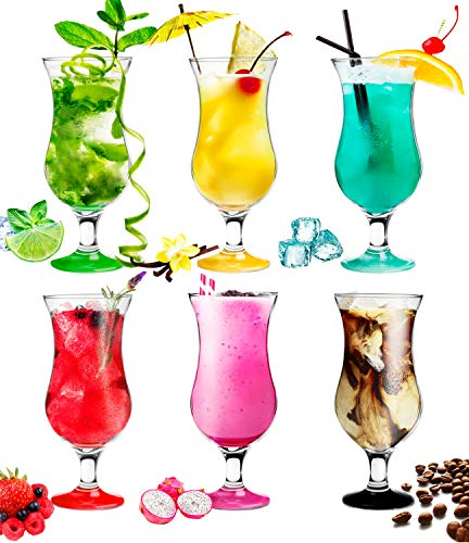 Platinux Cocktailgläser 400ml (max. 470ml) aus Glas Set (6-Teilig) Longdrinkgläser Partygläser Milkshake Glas Groß Bunt