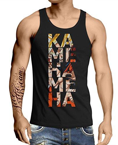 Stylotex Herren Tank Top Basic Kamehameha, Größe:S, Farbe:schwarz