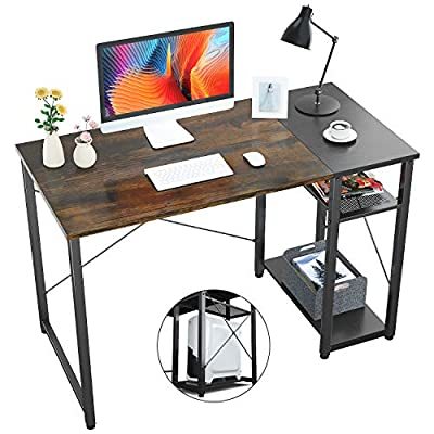 Foxemart Computer Desk with Shelves, 39 inch Sturdy Writing Desk with Grid Drawer, Modern Furniture for Home, Office, Study Room, Bedroom?Vintage Oak Finish?