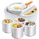 NBCDY Olla arrocera, vaporizador eléctrico de Alimentos múltiples, Caldera eléctrica automática de Porcelana Blanca guisada de 1 Paso, para Cocineros arroz Blanco, arroz Integral, quinua y Avena