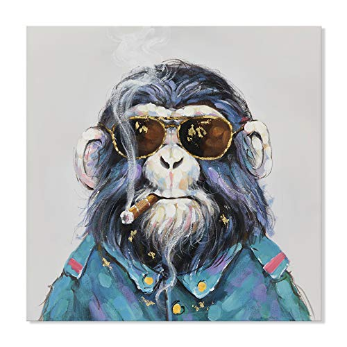 SEVEN WALL ARTS - Modern Cute Gorilla Monkey Animal Paintings Cool Smoking Chimp with Sunglasses Artworks Ready to Hang for Living Room 24 x 24 Inch