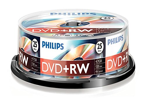 Philips DVD+RW Rohlinge (4.7 GB Data/ 120 Minuten Video, 1-4x Speed Aufnahme, 25er Spindel)